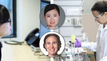 Photo collage of Lauren Porter and Xiaofang Jiang working at computer and in the lab respectively