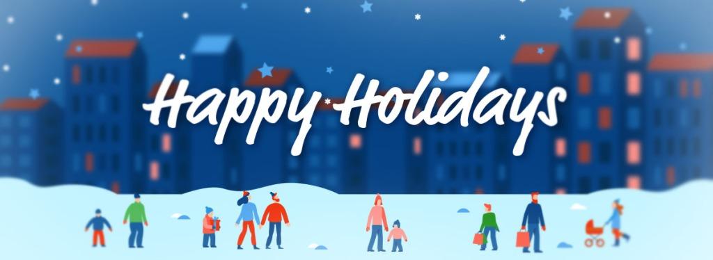Cartoon people walking through a festive, snowy evening.